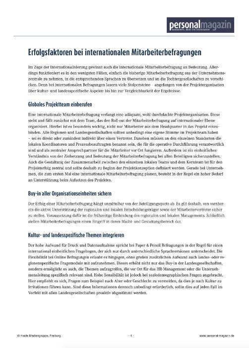 Medien Vocatus WordPerfect GmbH München: Erfolgsfaktoren bei internationalen Mitarbeiterbefragungen.